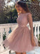 Alluring Shinny Dusty Pink Long Sleeve Short A-Line Homecoming Dresses, 2019 Homecoming Dresses, PD0808