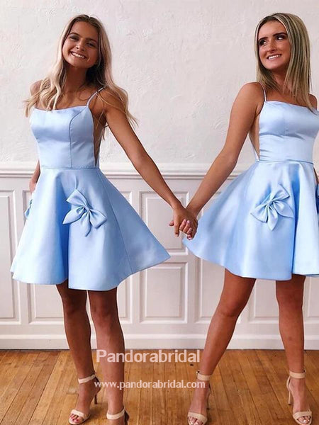 Elegant Blue Spaghetti Straps With Unique Pockets Homecoming Dresses, 2019 Homecoming Dresses, VB02546
