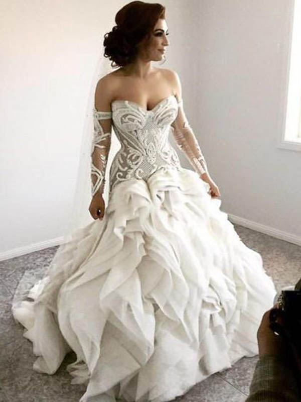 Unique Sweetheart Mermaid Lace Layered Wedding Dresses Wedding Dresses Pd0657