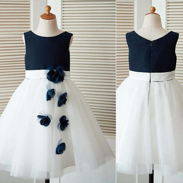 Simple Navy Blue Scoop Neckline Sleeveless Zipper Up A-Line Tulle Flower Girl Dresses With Flower Appliques, Lovely Flower Girl Dresses, PD0212