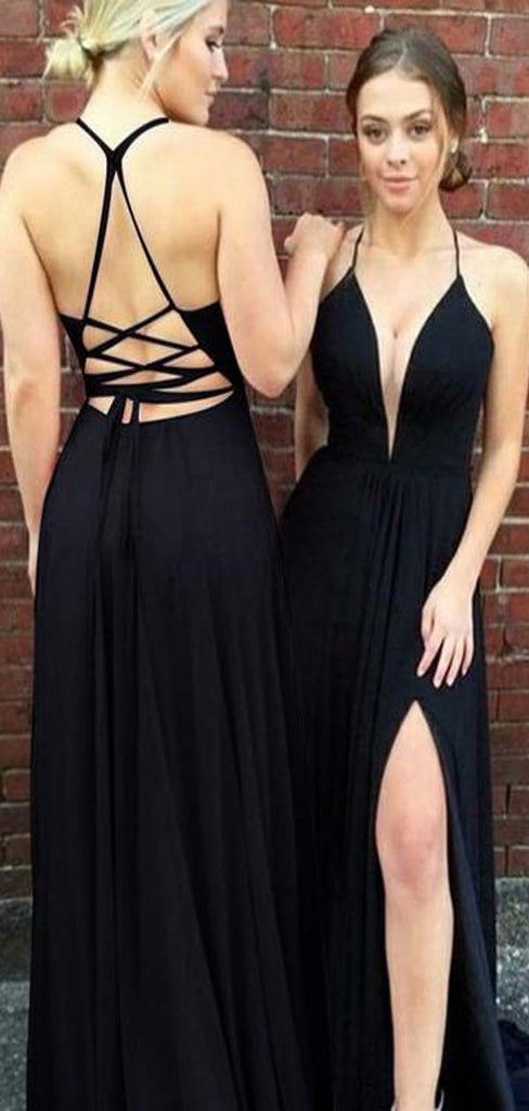 Simple Black Halter Crisscross Back Long A-Line Jersey Prom Dress, Prom Dresses, PD0340