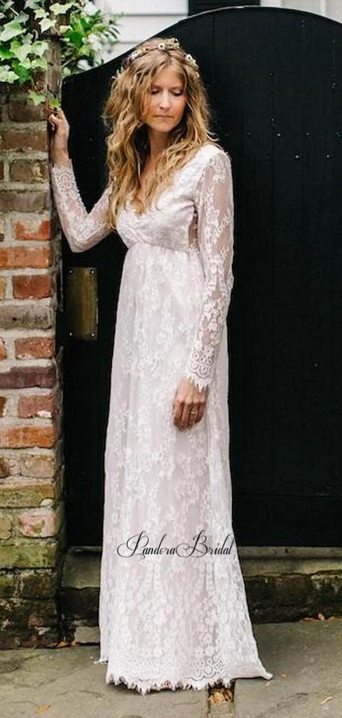 Charming V-Neck Long Sleeve Lace Wedding Dresses, PD01752
