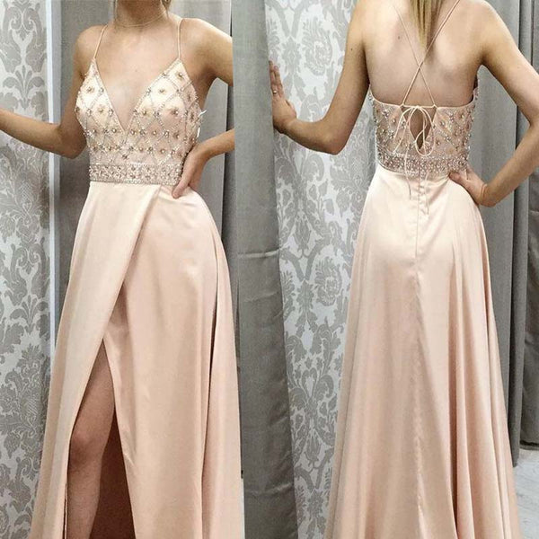 Charming Spaghetti Straps Top Beaded Long Side Split Prom Dresses, Evening Dresses, PD0357