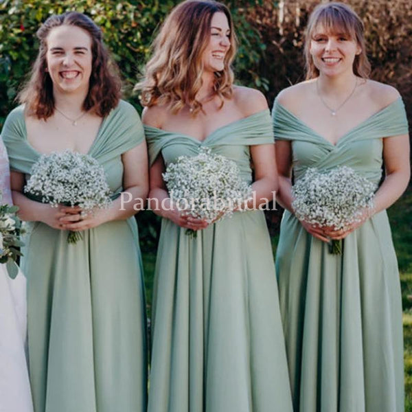 Alluring Green Off Shoulder A-Line Bridesmaid Dresses, PD01698