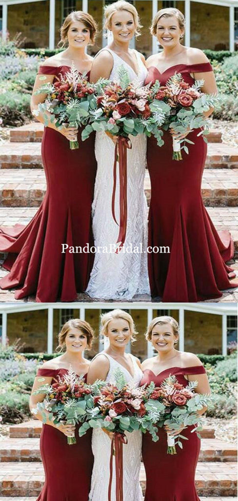 Simple Burgundy Off Shoulder Long Mermaid Bridesmaid Dresses, Bridesmaid Dresses, PD0322