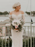 Alluring Off Shoulder Long Sleeve Mermaid Lace Wedding Dresses, Wedding Gowns, PD01746
