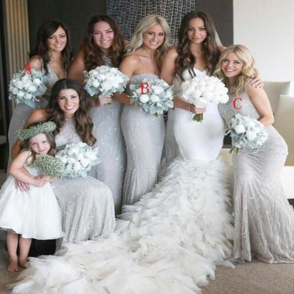 Charming Mismatched Shinny Mermaid Bridesmaid Dresses, VB03528