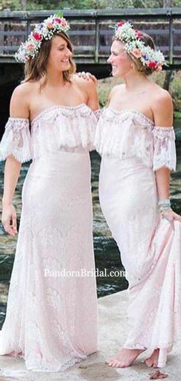 52a66eb2b1c Elegant Off White Off Shoulder Lace Column Long Bridesmaid Dresses