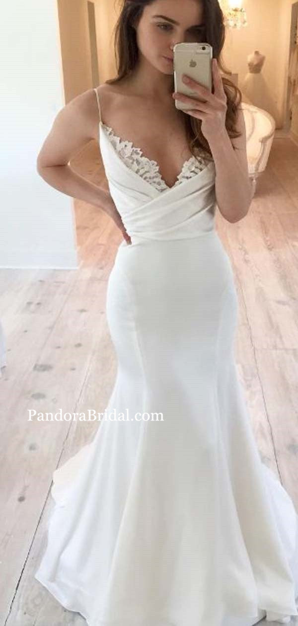 Elegant Spaghetti Straps Long Mermaid Wedding Dresses With Lace Wedding Dresses Pd0541