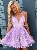 Charming Spaghetti Straps A-Line Tulle Homecoming Dresses With Appliques, VB02662
