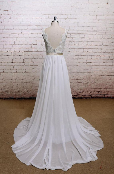 Backless V Neck Cap Sleeve Lace Simple Cheap Beach Wedding Dresses, WD323