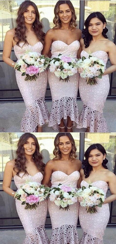 Unique Sweetheart Knee-Length Mermaid Lace Bridesmaid Dresses, Bridesmaid Dresses, VB02296