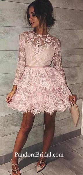 Special Pink Lace Long Sleeve Short Layered Tulle Homecoming Dresses, Homecoming Dresses, PD0636