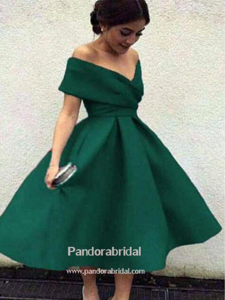 Green Off Shoulder A-Line Homecoming Dresses, 2019 Homecoming Dresses, VB02558