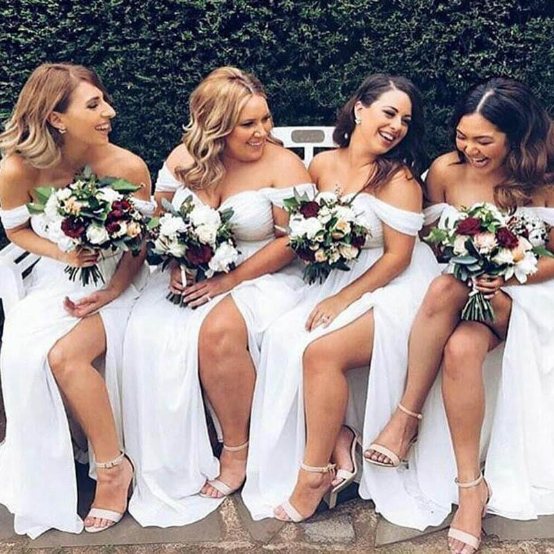 Simple Off Shoulder Top Pleated Long A-Line Side Slit Chiffon Bridesmaid Dresses, Bridesmaid Dresses, VB02391
