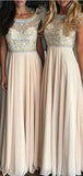 Top Rhinestones Illusion A-Line Chiffon Bridesmaid Dresses, VB03529