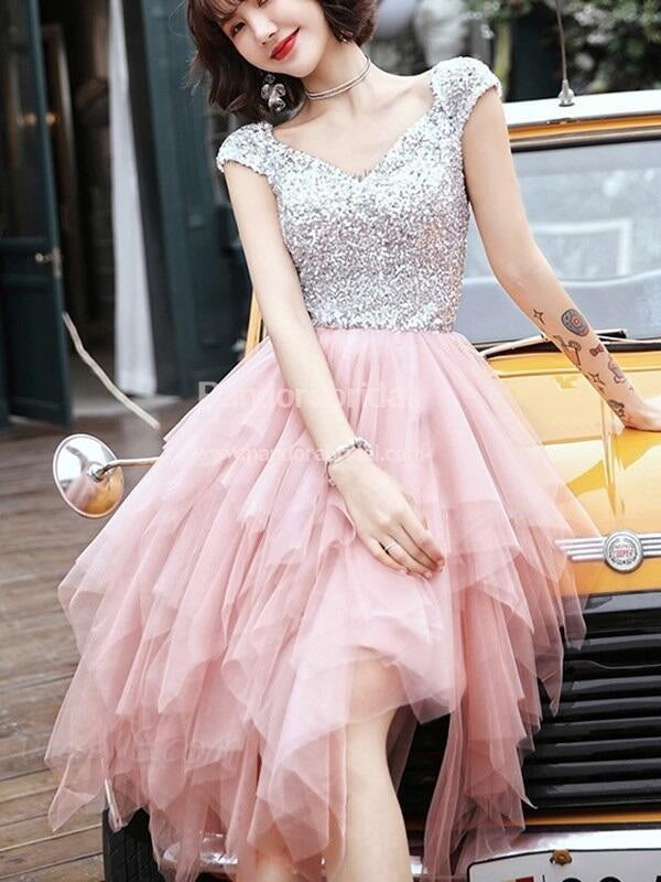 Shinny Top Sequin Cap Sleeve Tulle Homecoming Dresses, Cheap Homecoming  Dresses, VB02530