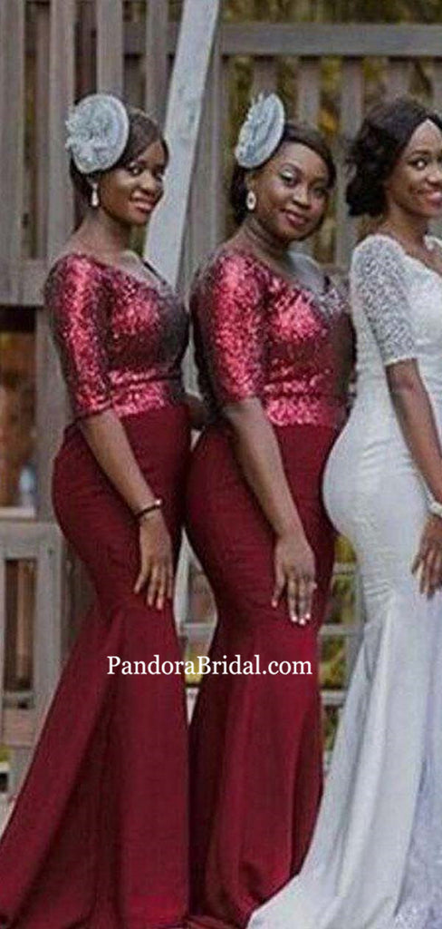 Shiny Top Sequin Burgundy Long Mermaid Bridesmaid Dresses, Bridesmaid Dresses, PD0576