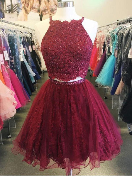 Two Piece Cheap Short Lace Beaded Dark Red Homecoming Dresses 2018, CM482