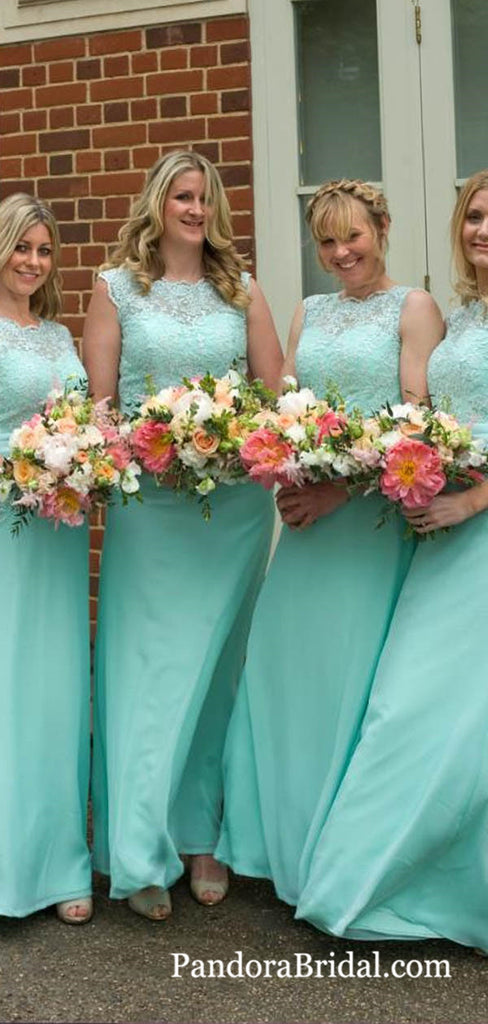 Charming Illusion Sleeveless Sheath Long A-Line Chiffon Bridesmaid Dresses With Lace, Bridesmaid Dresses, PD0676