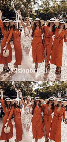 Charming V-Neck Long Sleeve With Sash Bridesmaid Dresses, VB02910