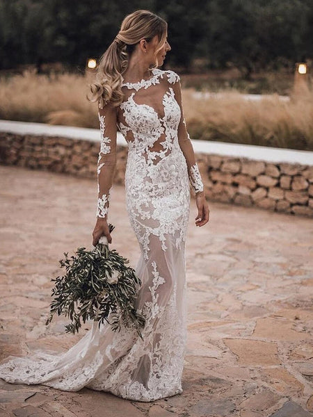 Boho Style Bateau Long Sleeve With Appliques Mermaid Wedding Dresses, See Through Wedding Gowns, PD01747