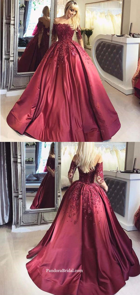 Red Off Shoulder 1/2 Long Sleeve Evening Prom Dresses, Popular 2019 Party Prom Dresses, Ball Gown With Appliques Prom Dresses, PD0377
