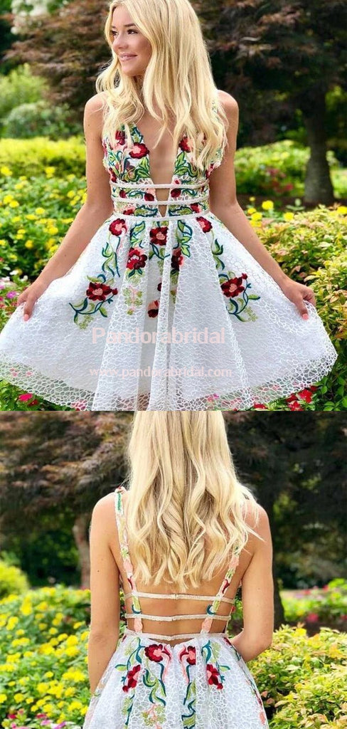 Charming V-Neck Flower Embroidery A-Line Homecoming Dresses, Freshman Homecoming Dresses, VB02544