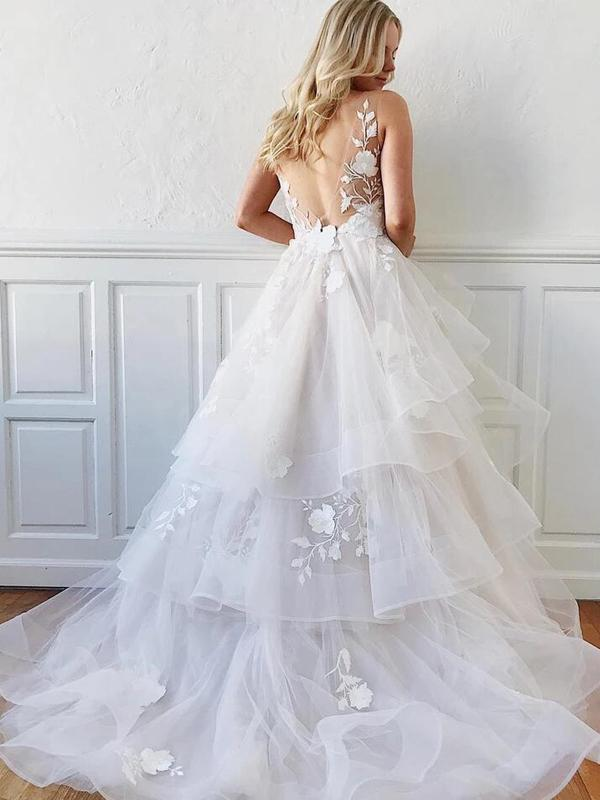 Charming V-Neck Layered Wedding Dresses With Appliques, Gorgeous Wedding Dresses, VB02949