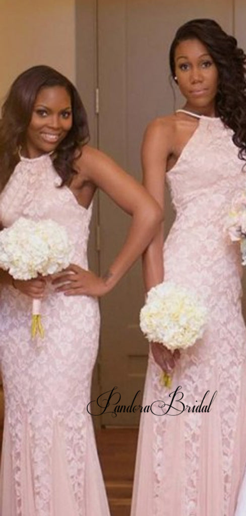 Pink Halter Lace Mermaid Bridesmaid Dresses, PD01802