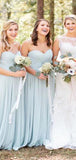 Simple Sweetheart Top Pleated Long A-Line Chiffon Bridesmaid Dresses, VB02936