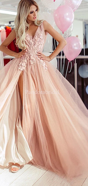 V-Neck With Appliques A-Line Tulle Side Slit Prom Dresses, PD01012