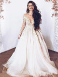 Newest Scoop Neckline Long Sleeve A-Line Tulle Wedding Dresses With Appliques, VB02950