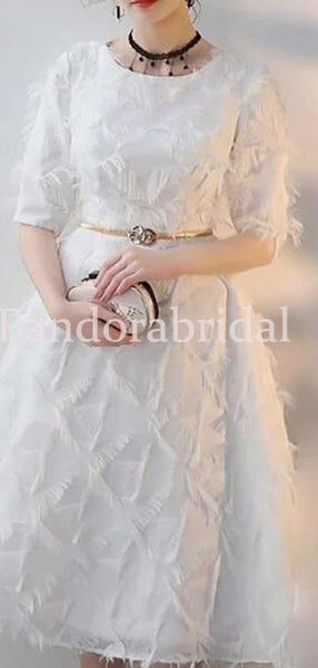 Gorgeous White Half Sleeve Homecoming Dresses With Appliques, VB02664