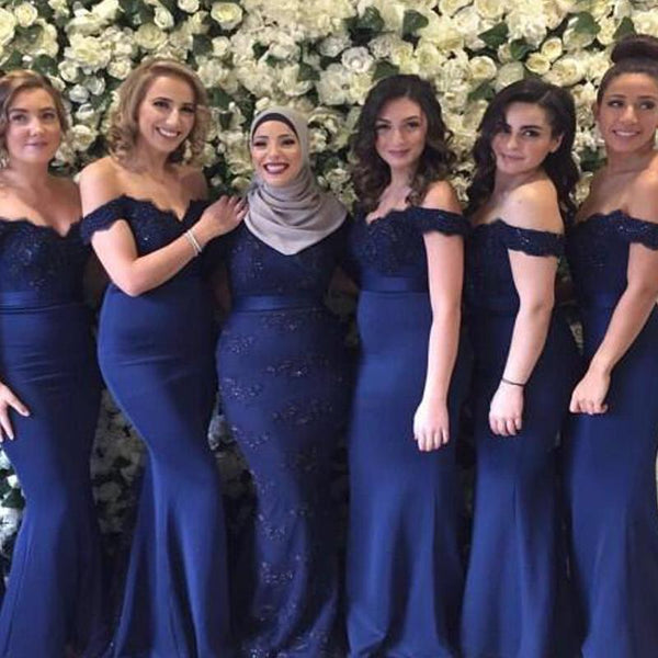 Alluring Navy Blue Off Shoulder Lace Top Mermaid Bridesmaid Dresses, VB03530