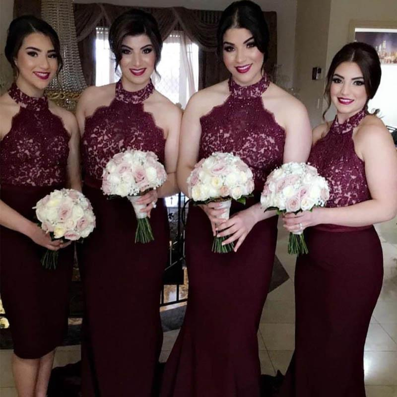 Mismatched Burgundy Halter Lace Top Mermaid Jersey Bridesmaid Dresses, Bridesmaid Dresses, VB02326