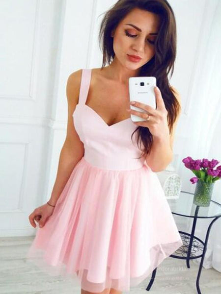 Simple Pink Straps Zipper Up A-Line Tulle Homecoming Dresses, Homecoming Dresses, VB02499