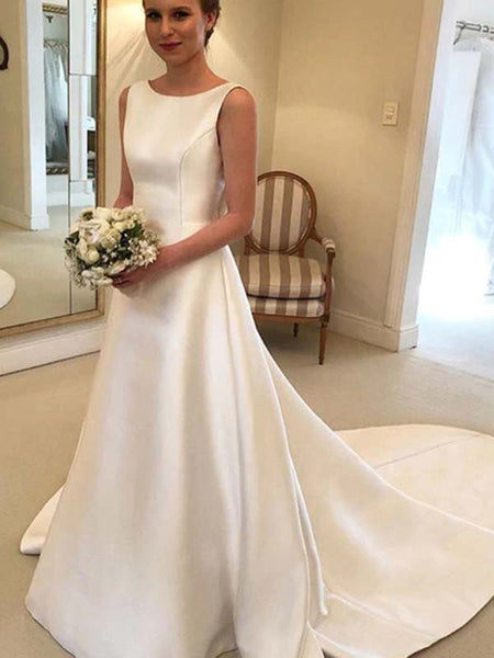 Elegant Scoop Neckline V-Back With Bow-Knot Wedding Dresses With Trailing, Wedding Dresses, PD0787