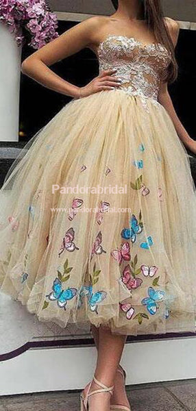 Exquisite Strapless With Appliques A-Line Tulle Homecoming Dresses, Charming Homecoming Dresses, VB02545