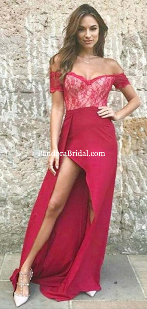 Burgundy Off Shoulder Lace Top Long Side-Slit Mermaid Prom Dresses, Sexy Prom Dresses, PD0517