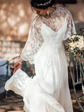 Unique Spaghetti Straps Lace Top Long Side Slit Chiffon Wedding Dresses, PD01748