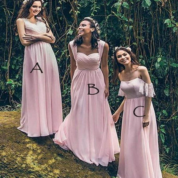 Charming Pink Mismatched Long A-Line Chiffon Bridesmaid Dresses, VB02299
