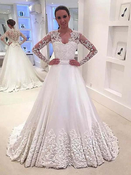 Gorgeous Long Sleeves Covered Button A-Line Long Wedding Dresses With Lace Appliques, Wedding Dresses, VB01180