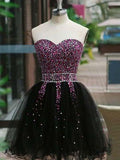 Gorgeous Sweetheart Black Short Homecoming Dresses With Beaded, Shinny Tulle Homecoming Dresses, PD0260