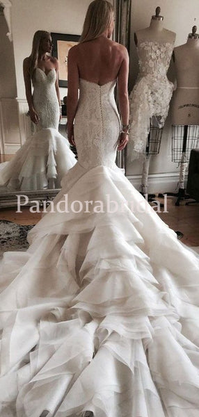 Gorgeous Sweetheart Covered Button Lace Mermaid Wedding Dresses, PD01725
