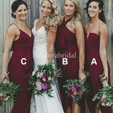 Mismatched Burgundy Mermaid Chiffon Bridesmaid Dresses, PD01732
