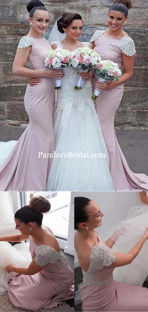 Unique Pink Scoop Neckline With Beaded Cap Sleeve Long Mermaid Bridesmaid Dresses, 2019 Bridesmaid Dresses, PD0428