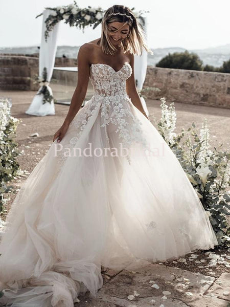 Elegant Sweetheart With Appliques Zipper Up Tulle Wedding Dresses, PD01719