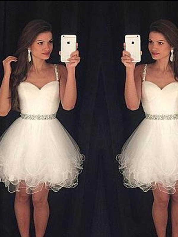 Charming Spaghetti Straps Short A-Line Tulle Homecoming Dresses With Beaded, Homecoming Dresses, PD0678