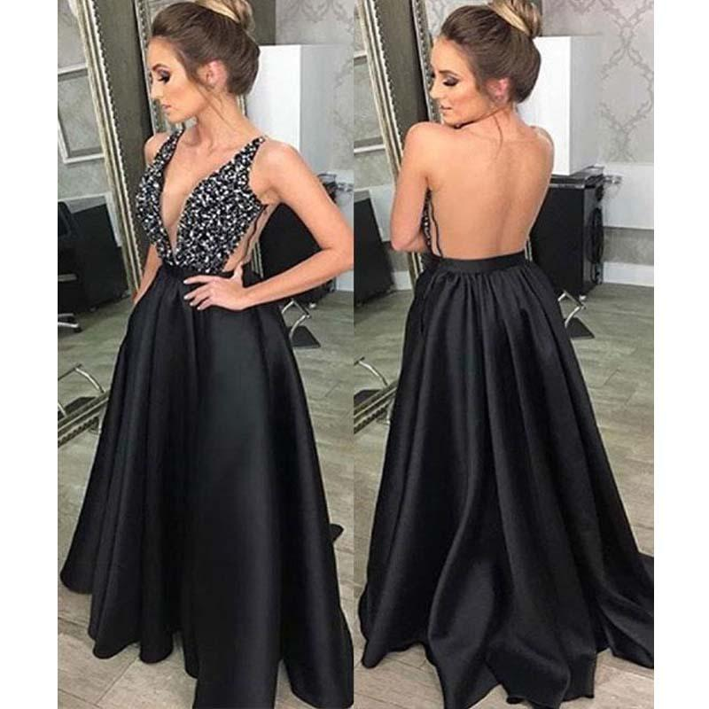 25837d29 Charming Black Top Beading Backless V-Neck A-Line Satin Bridesmaid Dresses,  Sparkly